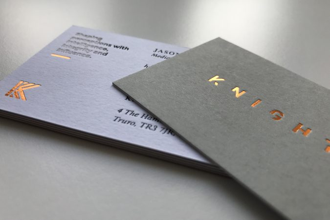 Knights business card with duplex card and copper block foiling