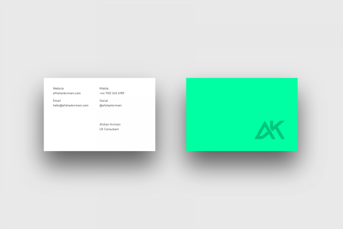 The Afshan Kirmani business card design